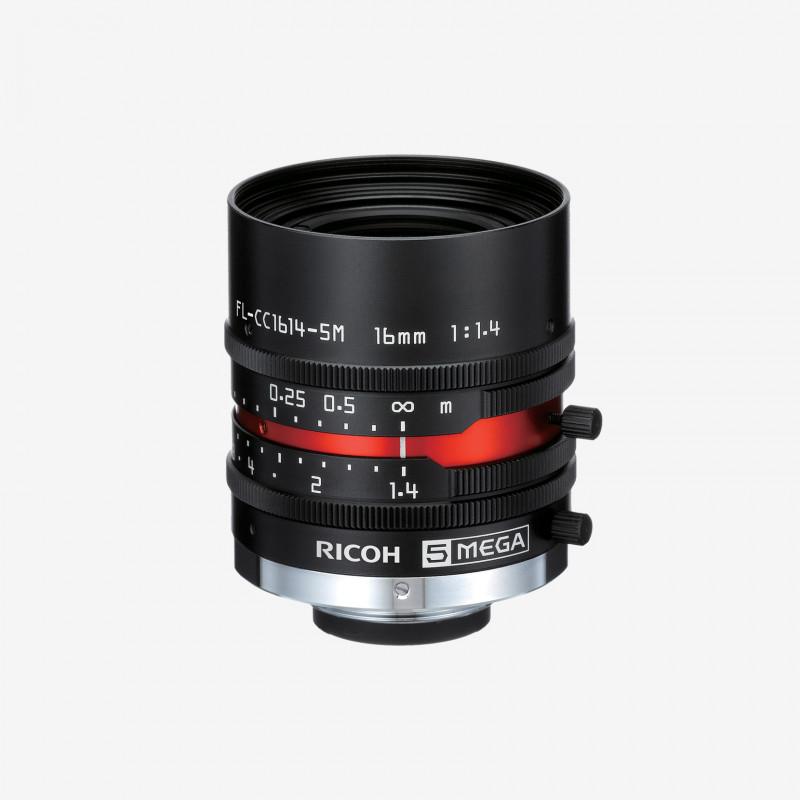 "Lens, RICOH, FL-CC1614-5M, 16 mm, 2/3"" C-Mount. 2/3"". 16 mm. Ricoh. AE005022740000"